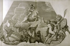 Untitled, thirteenth plate of Heroicae virtutis imagines quas Eques Petrus Berrettinus Cortonensis pinxit … (Rome: Domenico de Rubeis …, undated), first part in miscellany with spine title: Opere d. div. pittori et gugliae di Roma.