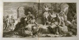 untitled, second plate following the series Heroicae virtutis imagines quas Eques Petrus Berrettinus Cortonensis pinxit … (Rome: Domenico de Rubeis …, undated), first part in miscellany with spine title: Opere d. div. pittori et gugliae di Roma.
