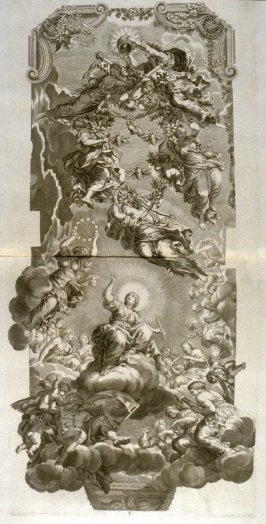 untitled, twelfth plate following the series Heroicae virtutis imagines quas Eques Petrus Berrettinus Cortonensis pinxit … (Rome: Domenico de Rubeis …, undated), first part in miscellany with spine title: Opere d. div. pittori et gugliae di Roma.