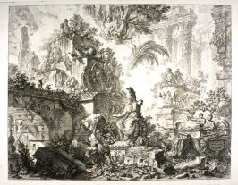 Frontispiece: Fantasy of ruins with a staue of Minera, from vol. II of Vedute di Roma (Views of Rome)