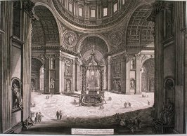 Veduta interna della Basilica di S. Pietro in Vaticano vicino alla Tribuna (Interior view of the Basilica of St. Peter's in the Vatican, near the Tribune), from Vedute di Roma (Views of Rome)