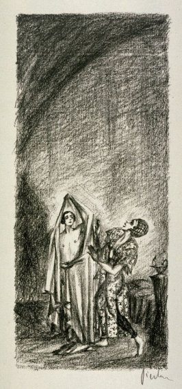 The Legend of St. Joseph/A servant has conducted Joseph in chamber where he was to spend the night. grey curtains encircled the room and next to the simple bedstead, a lamp is lighted. Potiphar's wife enters.