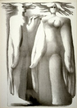 Untitled (standing figures merging with hands)