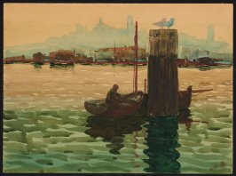 Untitled (View of San Francisco Bay with fishermen in a boat, the wharf and city skyline in the background)