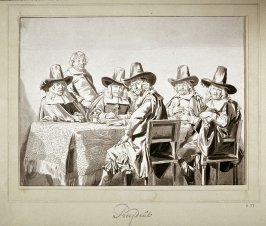 [Men seated around a table]