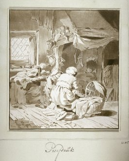 Interior: woman nursing a child