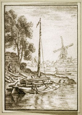 [Harbor scene with a windmill in the distance]
