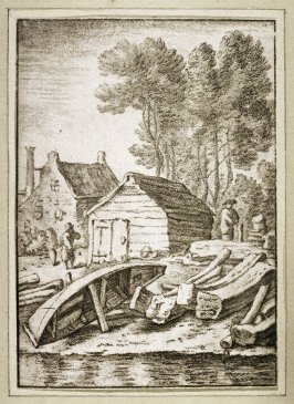 [Harbor scene with houses and people]