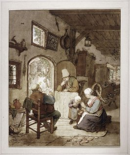 [Interior with three adults and a child being fed]