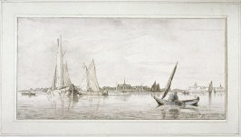 [Canal with boats, church]