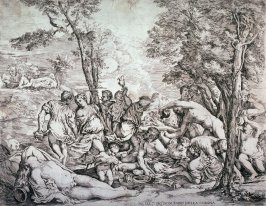 Bacchanal With Bacchus and a Sleeping Woman, after Titian