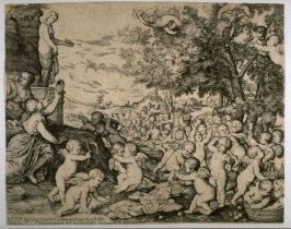 Statue of Venus with Numerous Putti, after Titian