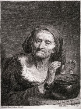 Old Woman Warming Her Hands at a Brazier