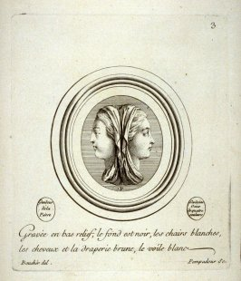 [head of woman], plate 3 in the book, Suite d'estampes gravées par Madame la Marquesse de Pompadour… (no place, no publisher, no date but probably Paris, ca. 1750)