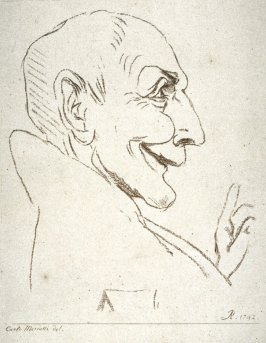 Man's head in profile to the right, from the series 'Pond's Caricatures'