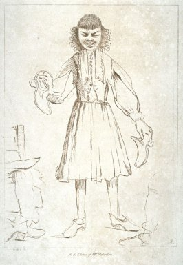 Man holding shoes in his hands, from the series 'Pond's Caricatures'