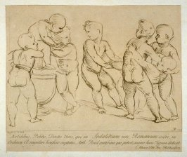 Six playing putti, from the series 'Prints in Imitation of Drawings'