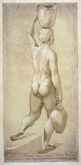 Study of figure, carrying two vases, from the series 'Prints in Imitation of Drawings'