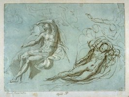 Two studies for reclining male figure, from the series 'Prints in Imitation of Drawings'