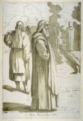 Monks in a garden, from the series 'Prints in Imitation of Drawings'