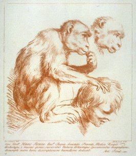 Study of a monkey on a man's shoulder, from the series 'Prints in Imitation of Drawings'