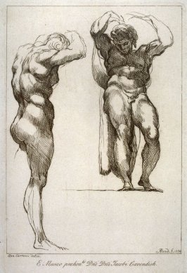Studies of a standing male figure, from the series 'Prints in Imitation of Drawings'