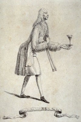 Man holding glass of wine, from the series 'Pond's Caricatures'