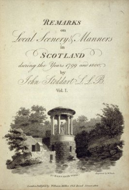 St. Bernard's Well, title page vignette for the first volume the book Remarks on Local Scenery and Manners in Scotland During the Years 1799 and 1800 by John Stoddart (London: William Miller, 1801), vol. 1( of 2)