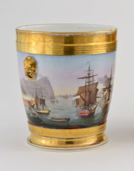 Cache pot with maritime scenes