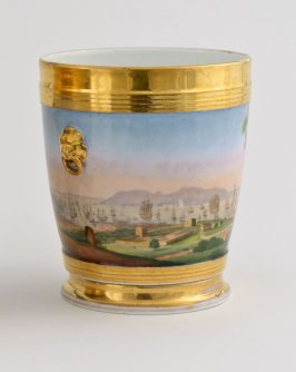 Cache pot with landscape scenes
