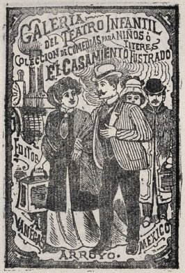 GALERIA/ DEL TEATRO INFANTIL...EL CASAMIENTO FRUSTRADO (Gallery of the Children's Theater...The Frustrated Marriage..), cover for a book of plays as reprinted on p. 206 of the Monografia..