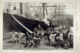 Scene on a New York Dock - Stevedores Unloading a Ship - from Harper's Weekly, 14 July 14, 1877), p. 540