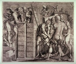Romulus and Remus Building the Walls of Rome, by an anonymous engraver after Primaticcio (?)