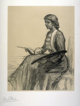 [Portrait of a Woman Painting] from the portfolio Les Cartons d'estampes gravées sur bois, oeuvrage corporative (Portfolio of wood engravings after works of various French artists)