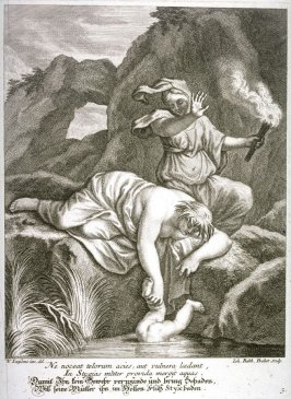 Thetis bathes her son Achilles in the river Styx to make him bullet-proof