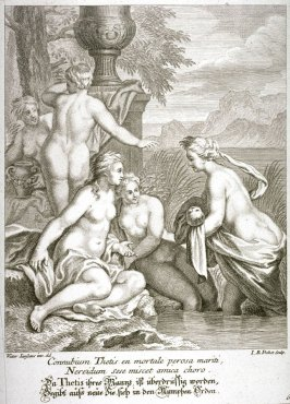 Thetis, tired of her husband, returns to her nymphs with Achilles
