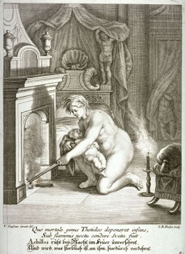 During the night Achilles sleeps embedden in flames, unharmed