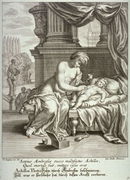 Thetis annoints her son Achilles with Ambrosia so that he becomes invulnerable to danger