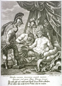 Seeking revenge, Achilles attempts to kill his enemy, but the Gods prevent him from doing so