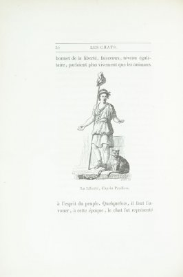 """La Liberté, d'après Prudhon,"" pg. 50, in the book Les Chats (Cats) by Champfleury (Paris: J. Rothschild, 1870)."