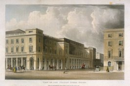 View of the Italian Opera House looking towards the Quadrant from R. Ackermann's Repository of Arts