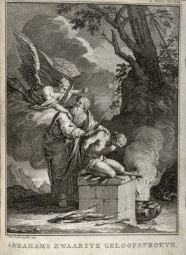 Abrahams zwaarste geloofsproeve (Abraham's greatest Test of Faith), plate facing p. 224 in the book, Abraham de aartsvader, in XII boeken (Rotterdam: Jan Daniel Beman, 1736)