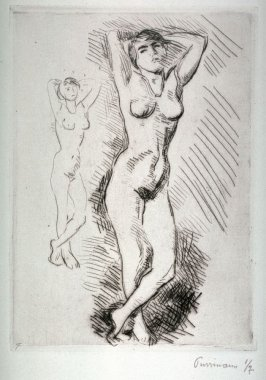 Sketches of two nude figures standing