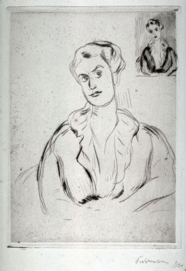 Half figure woman, repeated upper right