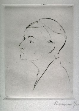Outline head of woman, left profile