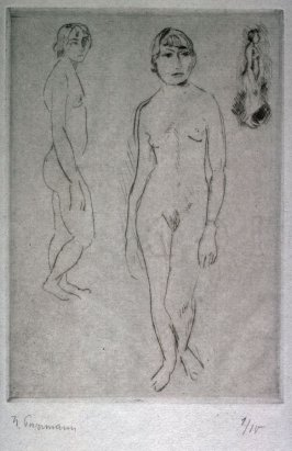 Sketches of three nude figures standing