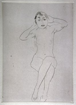 Nude seated, hands up to head, full face