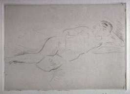Nude woman reclining- head right
