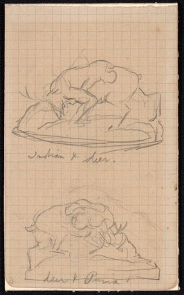 "Two sketches for sculpture: ""Indian & Deer"";""Deer & Puma"" (reverse:2 sketches of fighting animals)"