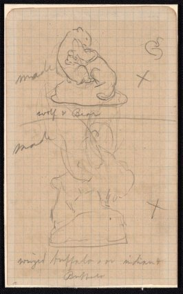 "Two sketches for sculptures: ""Wolf & Bear"" ""Winged Buffalo or Indain and Buffalo"""